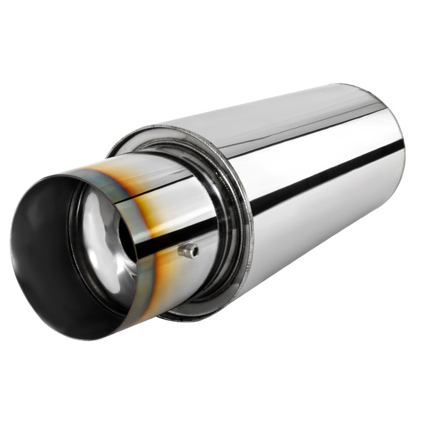 """Universal 3"""" Inlet/4"""" Outlet Stainless Steel Spiral Flow Exhaust Muffler w/ Burnt Tip"""