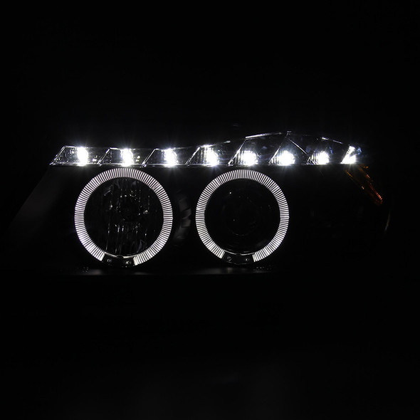 2006-2008 BMW E90 R8 Style Dual Halo Projector Headlights (Matte Black Housing/Clear Lens)