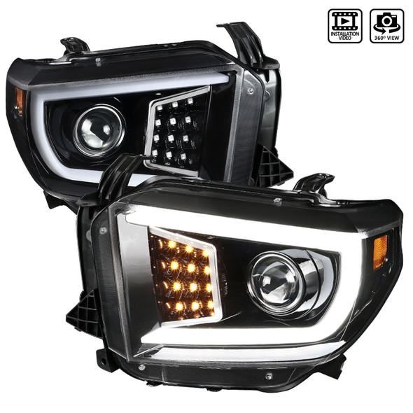 2014-2021 Toyota Tundra LED C-Bar Projector Headlights w/ LED Turn Signal Lights  (Glossy Black Housing/Clear Lens)