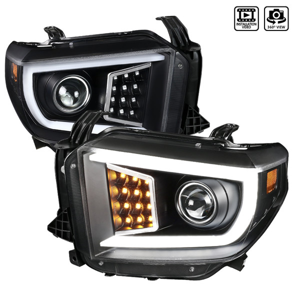 2014-2018 Toyota Tundra Projector Headlights w/ LED DRL Bar (Matte Black Housing/Clear lens))