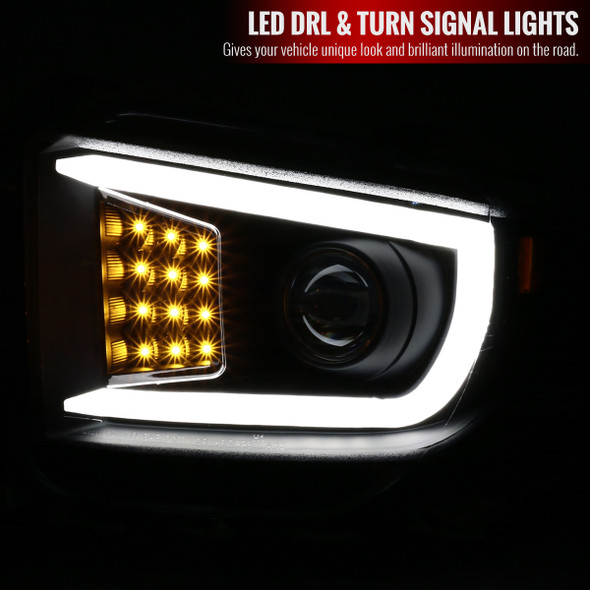 2014-2021 Toyota Tundra LED C-Bar Projector Headlights w/ LED Turn Signal Lights (Matte Black Housing/Clear lens))