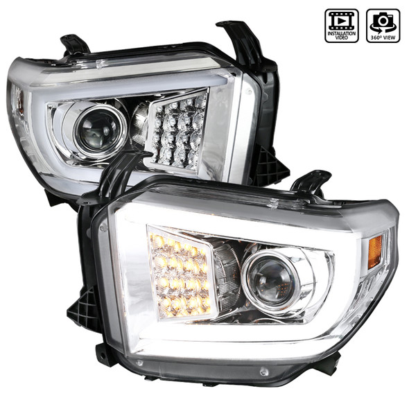 2014-2021 Toyota Tundra LED C-Bar Projector Headlights w/ LED Turn Signal Lights (Chrome Housing/Clear Lens)