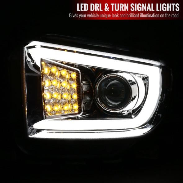 2014-2018 Toyota Tundra Projector Headlights w/ LED DRL Bar (Chrome Housing/Clear Lens)
