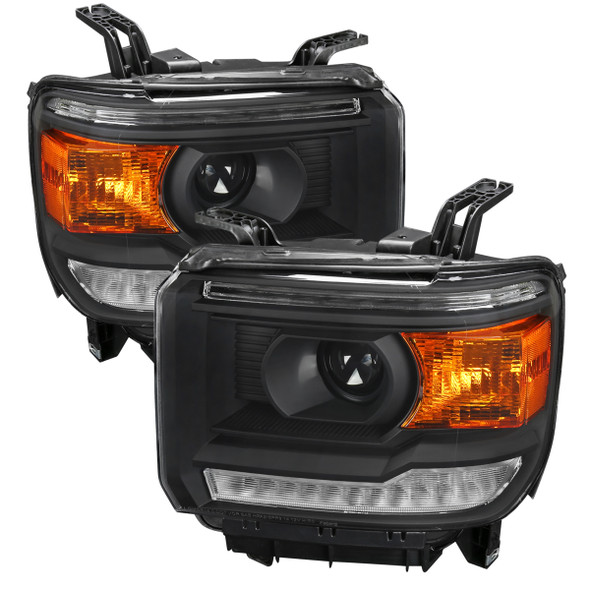 2014-2018 GMC Sierra Projector Headlights w/ LED DRL Bar (Matte Black Housing/Clear Lens)