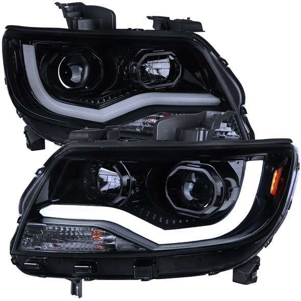 2015-2020 Chevrolet Colorado Projector Headlights w/ LED DRL & Amber Reflectors (Glossy Black Housing/Smoke Lens)