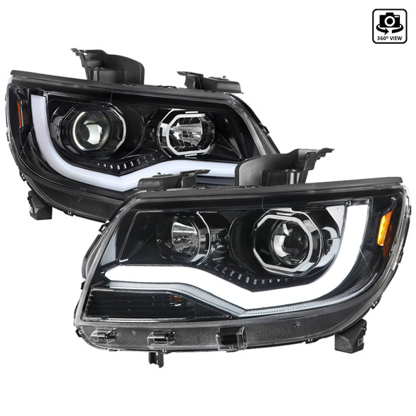 2015-2020 Chevrolet Colorado Projector Headlights w/ LED DRL & Amber Reflectors (Glossy Black Housing/Clear Lens)