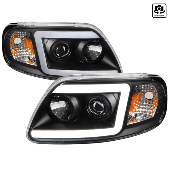 1997-2004 Ford F-150 / 1997-2002 Expedition LED C-Bar Projector Headlights (Black Housing/Clear Lens)