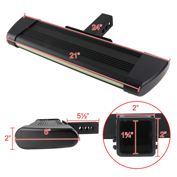 "Universal 2"" Black Hitch 24"" Long Rear Step Bar w/ LED Light"