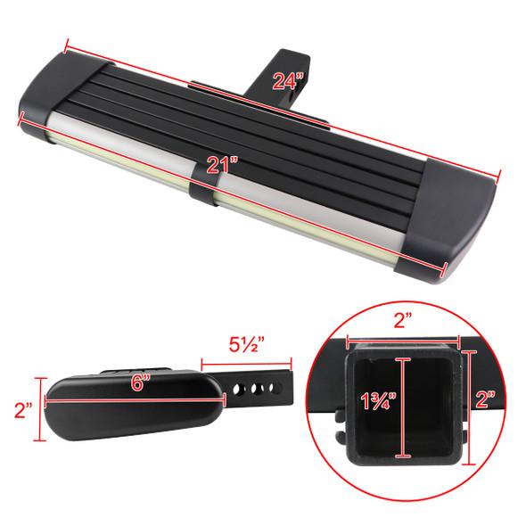 "Universal 2"" Black/Silver Hitch 24"" Long Rear Step Bar w/ LED Light"
