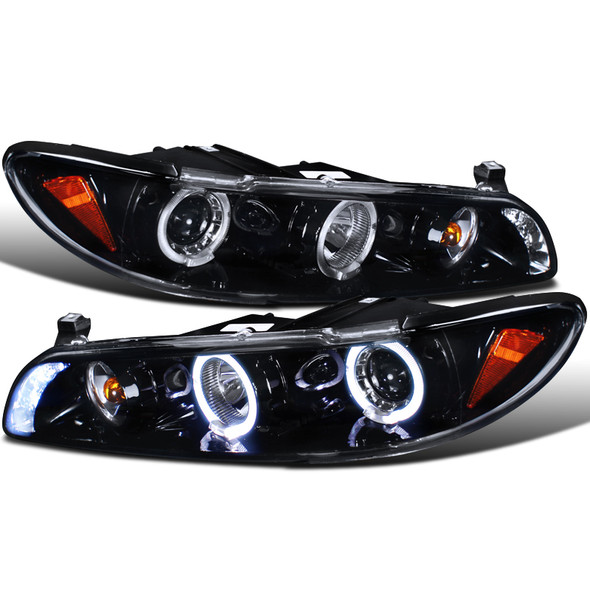 1997-2003 Pontiac Grand Prix Dual Halo Projector Headlights w/ LED DRL & Corner Lights (Glossy Black Housing/Smoke Lens)