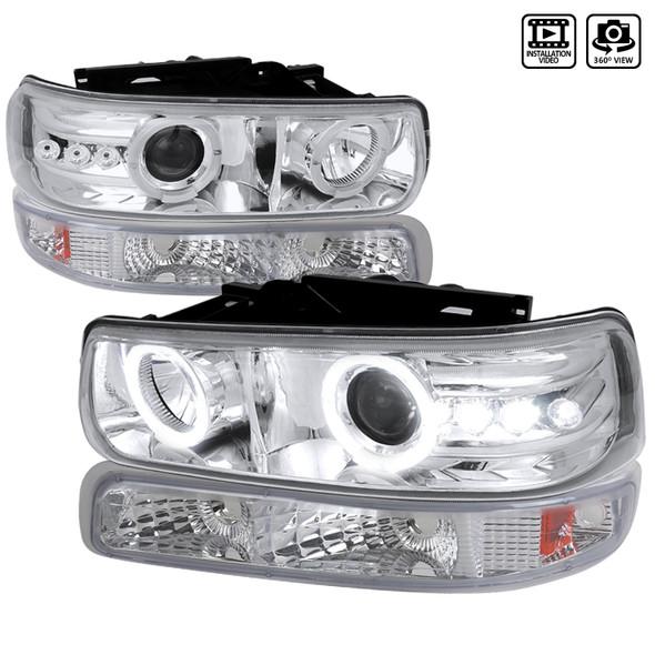 1999-2006 Chevrolet Silverado/Suburban/Tahoe Dual Halo Projector Headlights w/ Bumper Lights (Chrome Housing/Clear Lens)