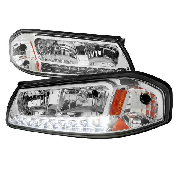 2000-2005 Chevrolet Impala Crystal Headlights w/ SMD LED Light Strip (Chrome Housing/Clear Lens)