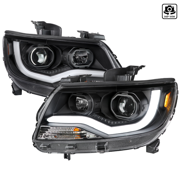 2015-2021 Chevrolet Colorado LED Bar Projector Headlights (Matte Black Housing/Clear Lens)
