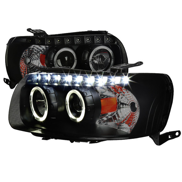 2005-2007 Ford Escape Black Housing Smoke Lens Dual Halo Projector Headlights w/ SMD LED DRL