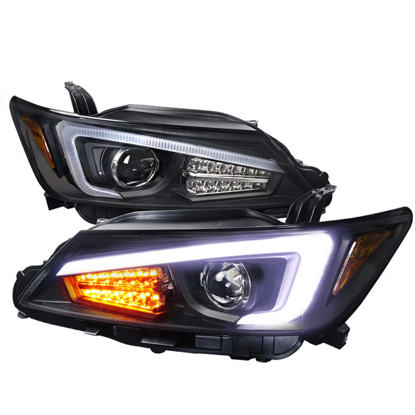 2011-2013 Scion tC DRL LED Projector Headlights w/LED Turn Signals (Matte Black Housing/Clear Lens)