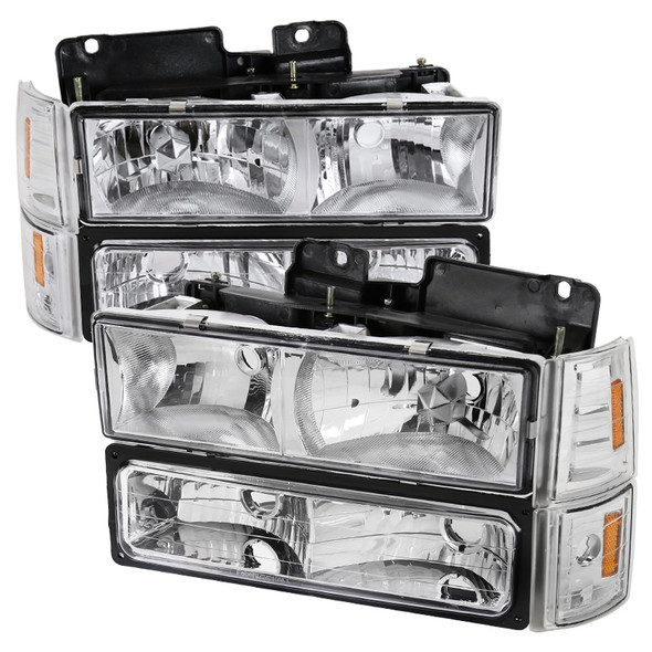 1994-1998 GMC C10/Sierra/Suburban/Yukon Factory Style Headlights w/ Bumper & Corner Lights (Chrome Housing/Clear Lens)