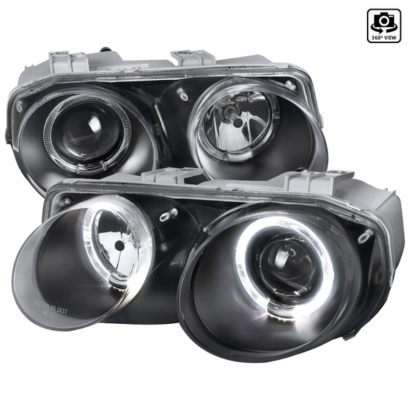 1998-2001 Acura Integra 3DR/4DR Dual Halo Projector Headlights (Matte Black Housing/Clear Lens)
