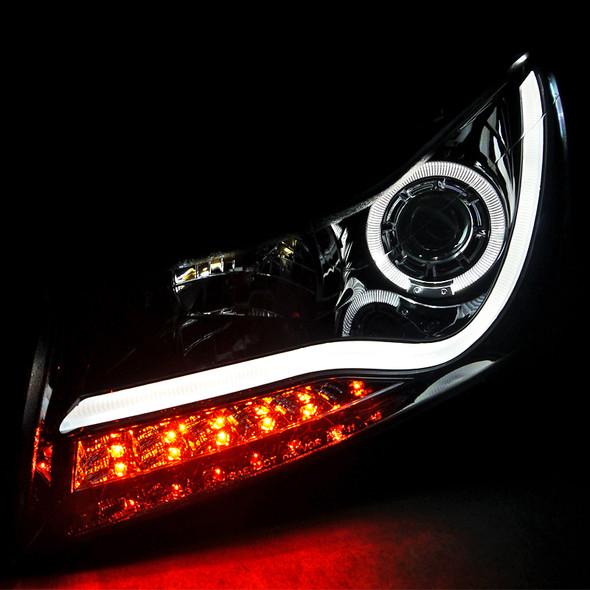 2011-2015 Chevrolet Cruze / 2016 Cruze Limited LED Bar Halo Projector Headlights w/ LED Turn Signal Lights (Glossy Black Housing/Smoke Lens)