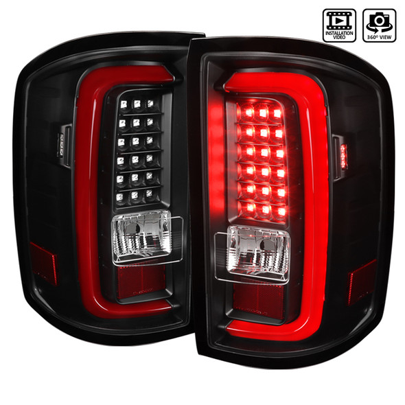 2014-2018 GMC Sierra 1500/2500HD/3500HD Red Bar LED Tail Lights (Black Housing/Clear Lens)