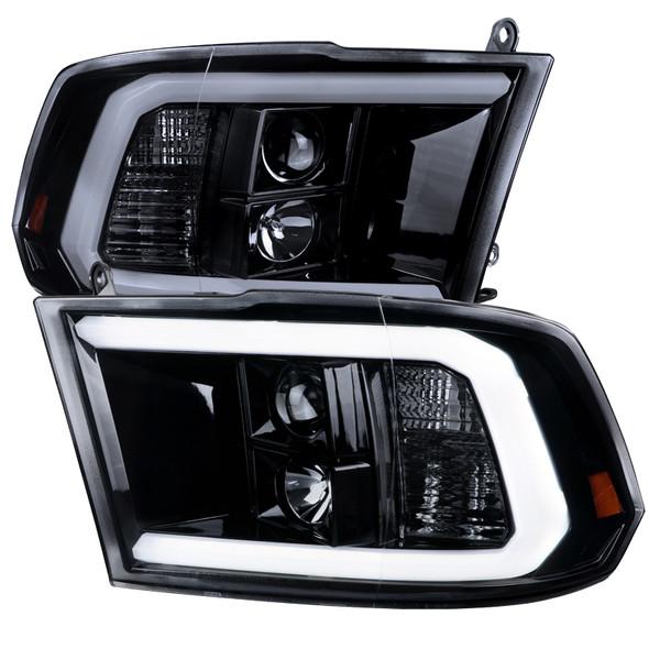 2009-2019 Dodge RAM 1500/2500/3500 Projector Headlights w/ LED Tube & H1 Bulbs (Glossy Black Housing/Smoke Lens)