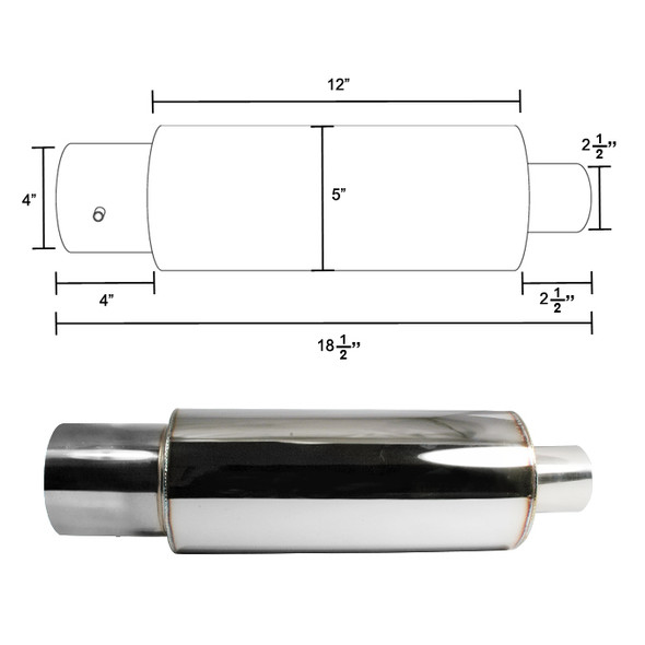 "Apexi N1 Style 2.5"" Inlet/4"" Outlet Stainless Steel Exhaust Muffler w/ Removable Silencer"
