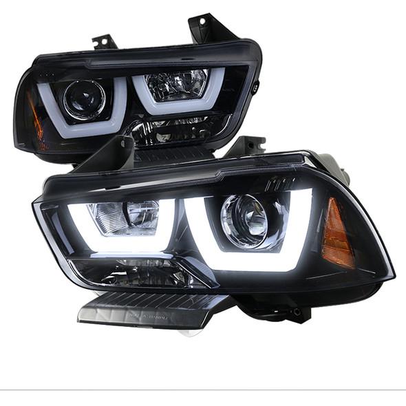 2011-2014 Dodge Charger Dual LED U-Bar Projector Headlights (Glossy Black Housing/Smoke Lens)