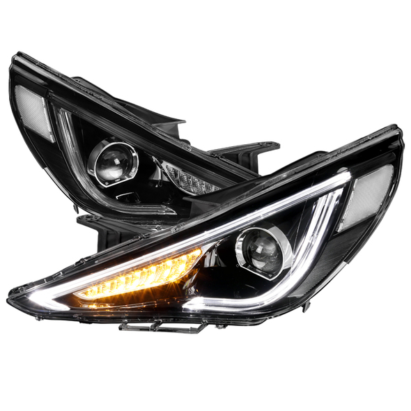 2011-2014 Hyundai Sonata Projector Headlights w/ LED DRL & Sequential Turn Signal (Black Housing/Clear Lens)