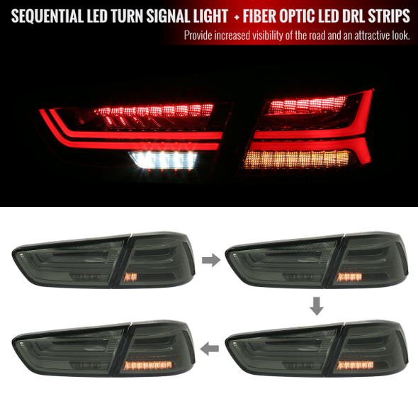 2008-2017 Mitsubishi Lancer/Evo 4DR Sedan LED Tail Lights w/ Sequential Turn Signal Lights (Chrome Housing/Smoke Lens)