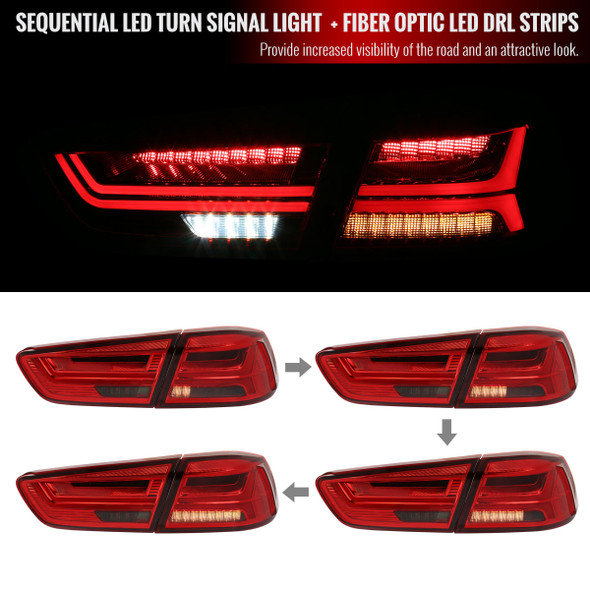 2008-2017 Mitsubishi Lancer/Evo 4DR Sedan LED Tail Lights w/ Sequential Turn Signal Lights (Chrome Housing/Red Smoke Lens)