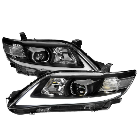 2010-2011 Toyota Camry LED DRL Projector Headlights w/ Switchback Sequential Turn Signal (Black Housing/Clear Lens)