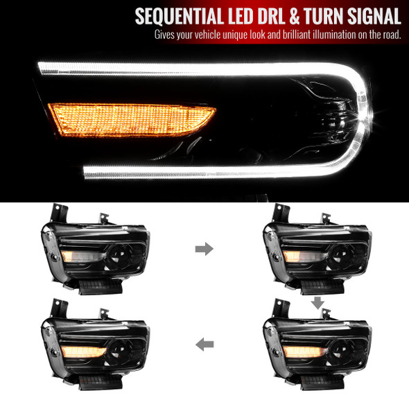 2011-2014 Dodge Charger LED DRL D2H Xenon Projector Headlights w/ Sequential LED Turn Signal (Black Housing/Clear Lens)