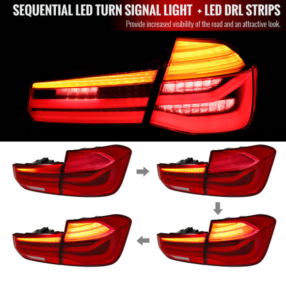 2012-2018 BMW 325i/328i/F30 Sedan LED Tail Lights w/ Sequential Turn Signal Lights (Chrome Housing/Red Clear Lens)