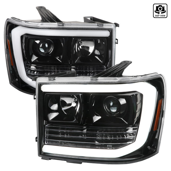2007-2014 GMC Sierra 1500 LED DRL Projector Headlights (Jet Black Housing/Clear Lens)