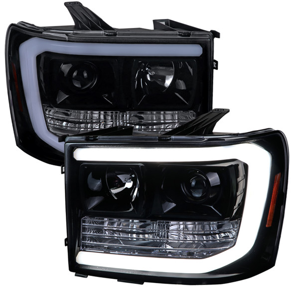 2007-2014 GMC Sierra 1500 LED DRL Projector Headlights (Glossy Black Housing/Smoke Lens)