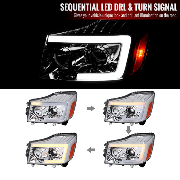 2004-2015 Nissan Titan/ 2004-2007 Armada LED C-Bar Projector Headlights w/ Switchback Sequential Turn Signals (Chrome Housing/Clear Lens)