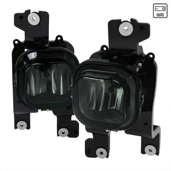 2008-2010 Ford F-250/F-350/F-450/F-550 Super Duty H10 Fog Lights w/ Switch & Wiring Harness (Chrome Housing/Smoke Lens)