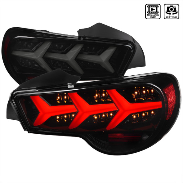 2013-2016 Scion FRS/ Subaru BRZ LED Tail Lights w/ Sequential Turn Signal Lights (Glossy Black Housing/Smoke Lens)