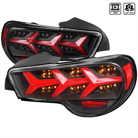 2013-2016 Scion FRS/ Subaru BRZ LED Tail Lights w/ Sequential Turn Signal Lights (Black Housing/Clear Lens)