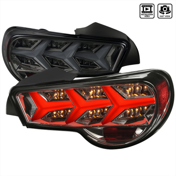 2013-2016 Scion FRS/ Subaru BRZ LED Tail Lights w/ Sequential Turn Signal Lights (Chrome Housing/Smoke Lens)