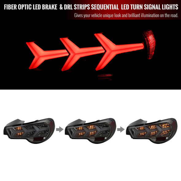 2013-2016 Scion FRS/ Subaru BRZ Lambo Style Sequential LED Tail Lights (Chrome Housing/Smoke Lens)