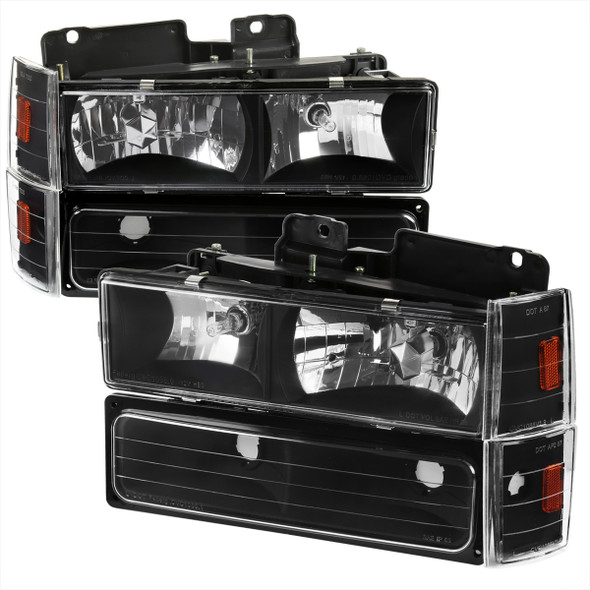 1988-1993 Chevrolet C/K Blazer/Tahoe/Silverado/Suburban GMC Sierra/Yukon Factory Style Headlights, Bumper Lights, & Corner Lights Set (Matte Black Housing/Clear Lens)