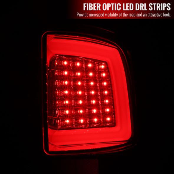 Dodge RAM 1500/2500/3500 White Bar LED Tail Lights (Chrome Housing/Red Lens)