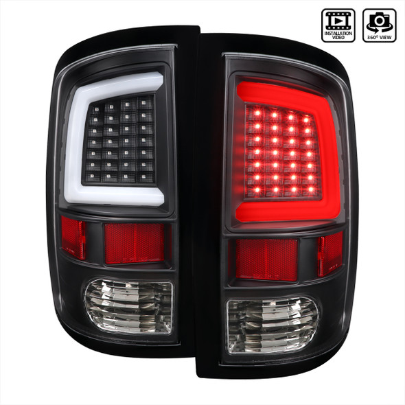 Dodge RAM 1500/2500/3500 White Bar LED Tail Lights (Matte Black Housing/Clear Lens)