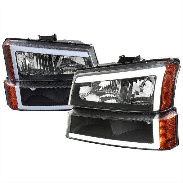 2002-2006 Chevrolet Avalanche/ 2003-2007 Silverado LED Bar Factory Style Headlights & Bumper Lights (Matte Black Housing/Clear Lens)