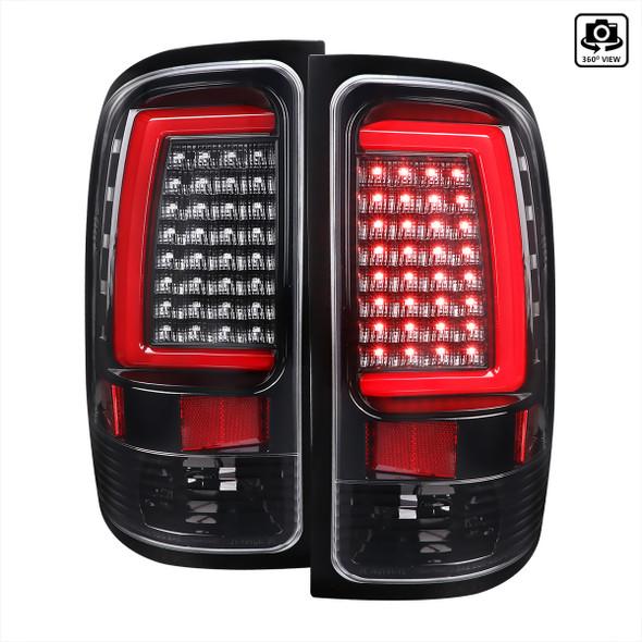 2007-2013 GMC Sierra 1500 / 2007-2014 Sierra 2500HD 3500HD C-Bar LED Tail Lights (Jet Black Housing/Clear Lens)