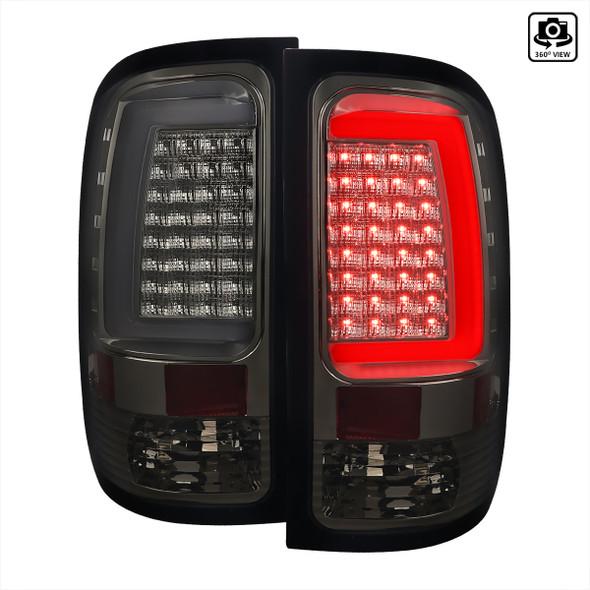 2007-2013 GMC Sierra 1500 / 2007-2014 Sierra 2500HD 3500HD C-Bar LED Tail Lights (Chrome Housing/Smoke Lens)