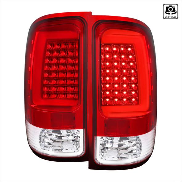 2007-2013 GMC Sierra 1500 / 2007-2014 Sierra 2500HD 3500HD C-Bar LED Tail Lights (Chrome Housing/Red Clear Lens)