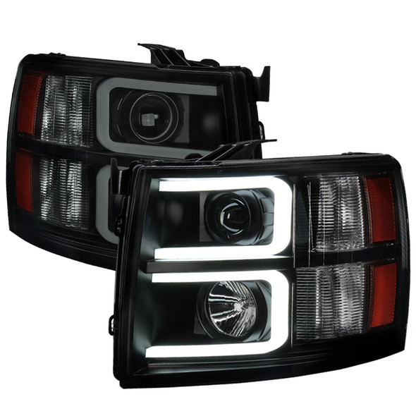 2007-2013 Chevrolet Silverado 1500/ 2007-2014 Silverado 2500HD 3500HD Dual LED C-Bar Projector Headlights (Black Housing/Smoke Lens)