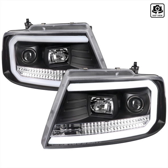 2004-2008 Ford F-150/ 2006-2008 Lincoln Mark LT LED C-Bar Projector Headlights (Matte Black Housing/Clear Lens)