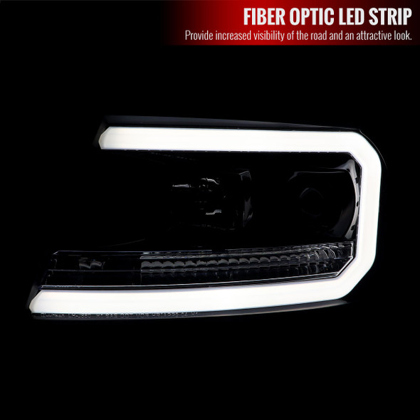 2004-2008 Ford F-150/ 2006-2008 Lincoln Mark LT LED C-Bar Projector Headlights (Jet Black Housing/Clear Lens)